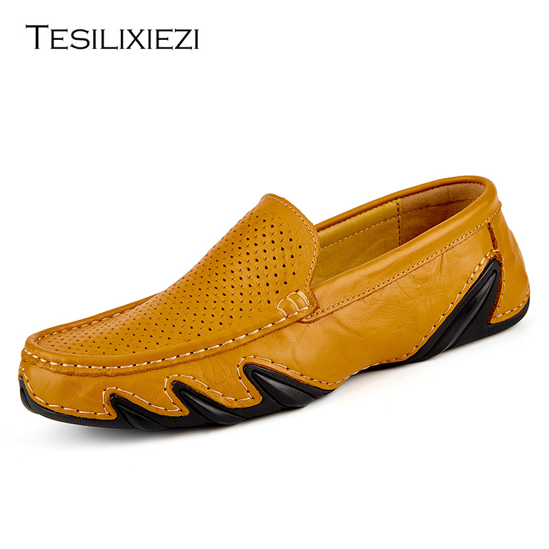 Fashion Summer Style Soft Genuine Leather Hollow Loafers for Men Slip On Boat Flats Shoes Male Casual Driving Shoes Moccasins 2017 new fashion summer spring men driving shoes loafers real leather boat shoes breathable male casual flats