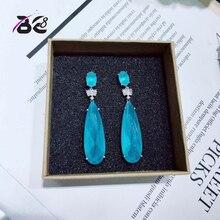 Be 8 Brilliant Crystal AAA CZ Stone font b Blue b font Long Drop Earrings Women