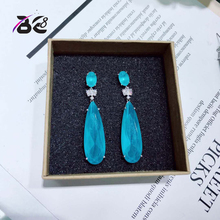 Be 8 Brilliant Crystal AAA CZ Stone Blue Long Drop Earrings Women Bride Party Show Jewelry Mujer Moda 2018 E618