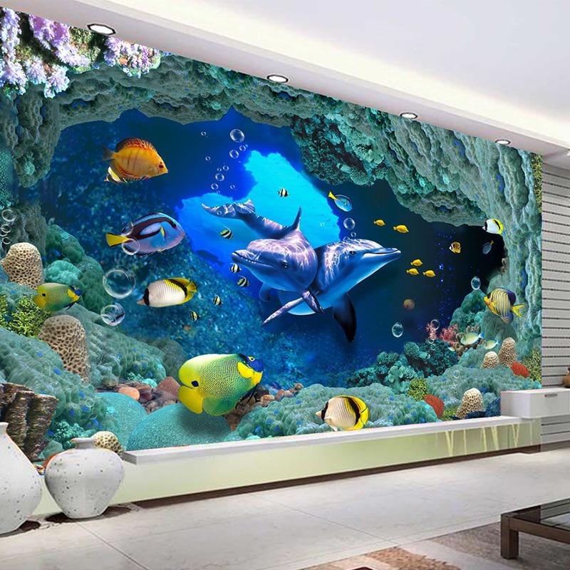 Aliexpress.com : Buy Custom Photo Wallpaper 3D Underwater World Mural Home Decor Wall Paper ...