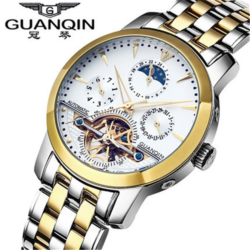 Relogio Masculino Mens Watches Top Brand Luxury Guanqin Military Tourbillon Automatic mechanical Watch Men Full Steel Wristwatch guanqin watch men sport mens watches top brand luxury tourbillon automatic mechanical watch luminous analog clock leather strap