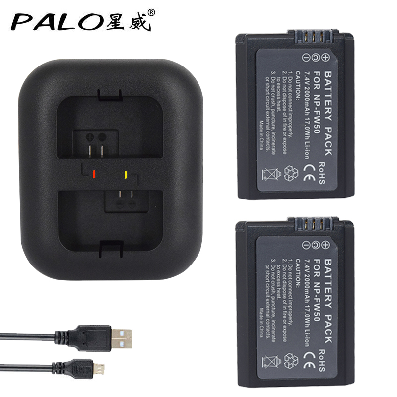Palo 2Pcs 2000mAh NP-FW50 NP FW50 Batter+Dual Charger for Sony Alpha a6500 a6300 a7 7R a7R a7R II a7II NEX-3 NEX-3N NEX-5 ...