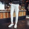 Cor sólida Tecido Demin Calças Outono inverno Calças Compridas Casuais dos homens White & black tamanho 28-36 Em Linha Reta calças MQ459