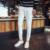 Tela Demin de Los Hombres de color sólido Pantalones Casuales Otoño invierno Pantalón Largo Blanco y negro tamaño 28-36 Recta pantalones MQ459
