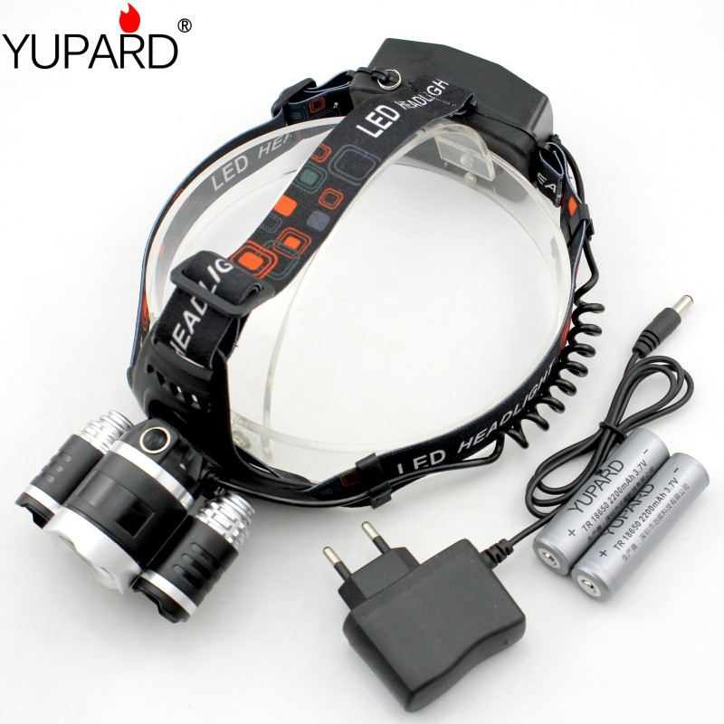 YUPARD 3*XM-L2 Headlight Headlamp+2*2200mAh 18650 battery+Charger, 3x XM-L2 super T6 led 3000 Lumens USB Power bank headlight