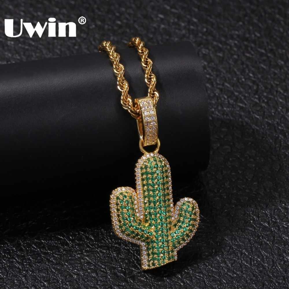 UWIN pełny mrożona z biały/zielony cyrkonia kaktus kształt wisiorki moda Hiphop roślin naszyjnik złoty kolor biżuteria męska