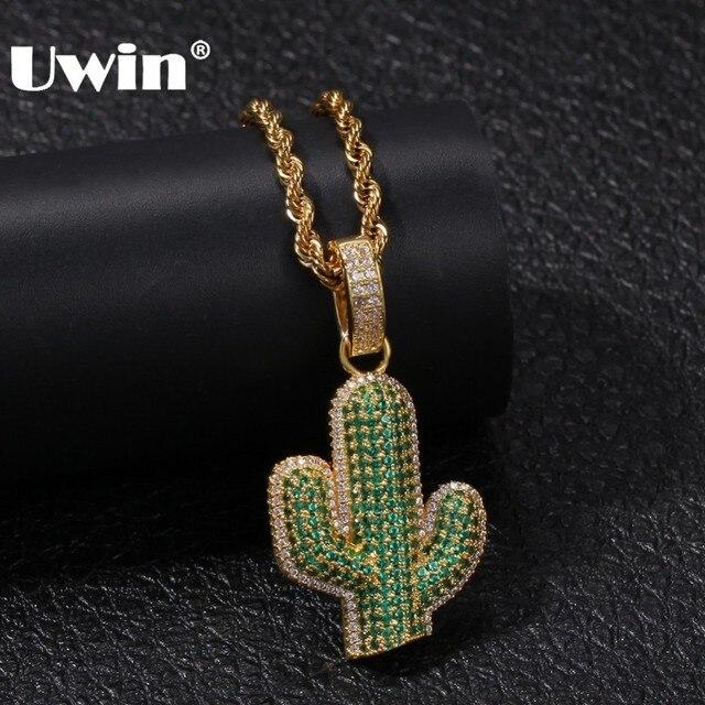 UWIN pendentifs en forme de Cactus en zircone cubique glacé, collier de plante hip hop à la mode, couleur or pour hommes