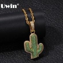 Uwin completo iced para fora branco/verde zircônia cúbica cactus forma pingentes moda hiphop planta colar cor ouro dos homens jóias