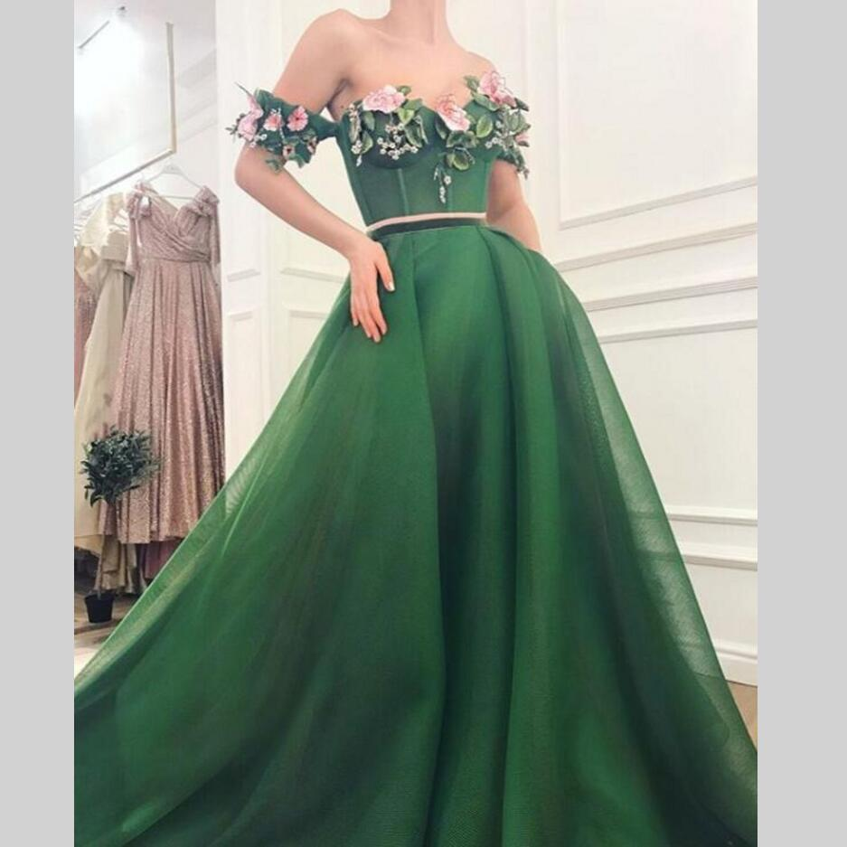 Long   Evening     Dresses   Flowers 2 Pieces New Women Formal Gown For Prom Wedding Party   Dresses   Robe De Soiree