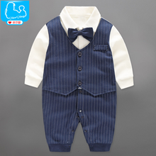 YiErYing Baby Rompers Autumn Long Sleeve Gentleman Style Bow Tie For baby Boys Party Clothing Newborn Outfits Clothes