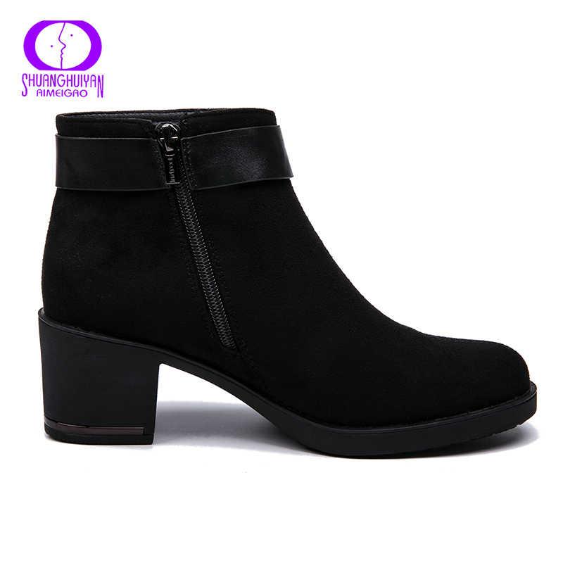 AIMEIGAO Mới đến Da Lộn Nữ Mắt Cá Chân Giày Cho Nữ Ấm Sang Trọng Ngắn Giày Giả Thu Xuân Nữ Giày Nữ 2018 MỚI