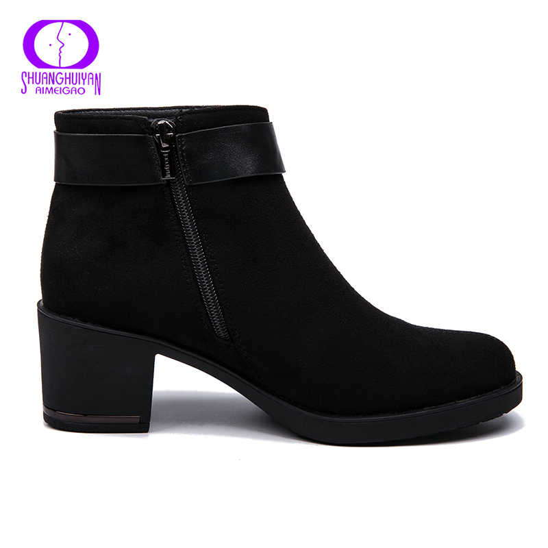 AIMEIGAO New Arrivals Suede Boots Women Ankle Boots For Women Warm Short Plush Boots Faux Spring Autumn Women Shoes 2018 NEW