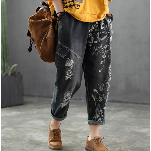 Surface embroidery hole  women  vintage casual softener denim pants  jeans