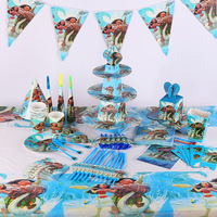 132pcs/bag Flags Tablecloth Straws Cups Plates Forks Moana And Other Party Supplies Kids Birthday Tableware Decoration favors