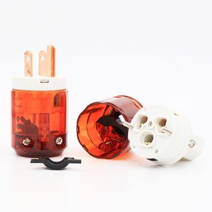 Image 4 - Free shipping 1 pair US plug P046+C046 Red Copper US AC Power Plug Audio Power Plug