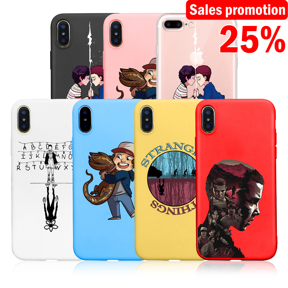Cute Phone Case For Iphone 7 8 6 6s Plus 5 5S SE Stranger Things Multi Colored Soft TPU Phone Cover For Iphone XR X XS XS MAX