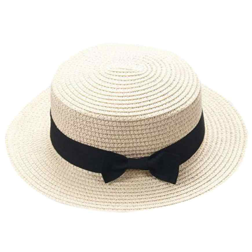 NewMother&Me Father Mother Bowknot Breathable Hat Straw Hat Cap Summer Outdoor Beach Sunhat Suit for parents