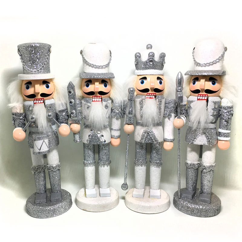 HT129 Free shipping Action & Toy 24CM Silver Christmas Nutcracker Puppet Combination Children Christmas Toys Gift ht025 free shipping movable doll puppets 13cm hardcover box painted walnut wooden nutcracker children christmas toy 2pcs lot