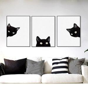 CLSTROSE акварельный минималистичный Kawaii животные черная голова кошки Холст А4 художественный Принт плакат скандинавские настенные картины До...