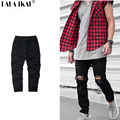 Solid Hole Ripped Solid Harem Jogger Pants Men Kanye West Hip Hop Brand Sweat Pants Men Joggers Slim Fit Pants KMB0139-5