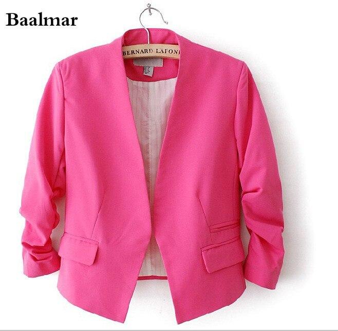 Baalmar Ladies Blazers 2017 New Fashion Single Button Blazer Women Suit Jacket Black /pink Blaser Female Plus Size Blazer Femme