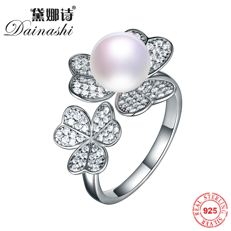 Dainashi 100% Real Solid Silver Rings 8-9mm Natural Freshwater Pearl Engagement Wedding Ring For Women Ring High Quality JewelryDainashi 100% Real Solid Silver Rings 8-9mm Natural Freshwater Pearl Engagement Wedding Ring For Women Ring High Quality Jewelry