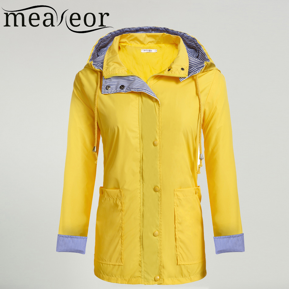 Meaneor Women Casual Waterproof Autumn Raincoat Regenjas Hooded   Trench   Coat Adjustable Drawstring Pocket Winter Windbreaker