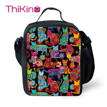 Thikin Library Cat Cooler Lunch Box School Portable Insulated Bag Tote PouchThermal Food Picnic Bags For Women Kids