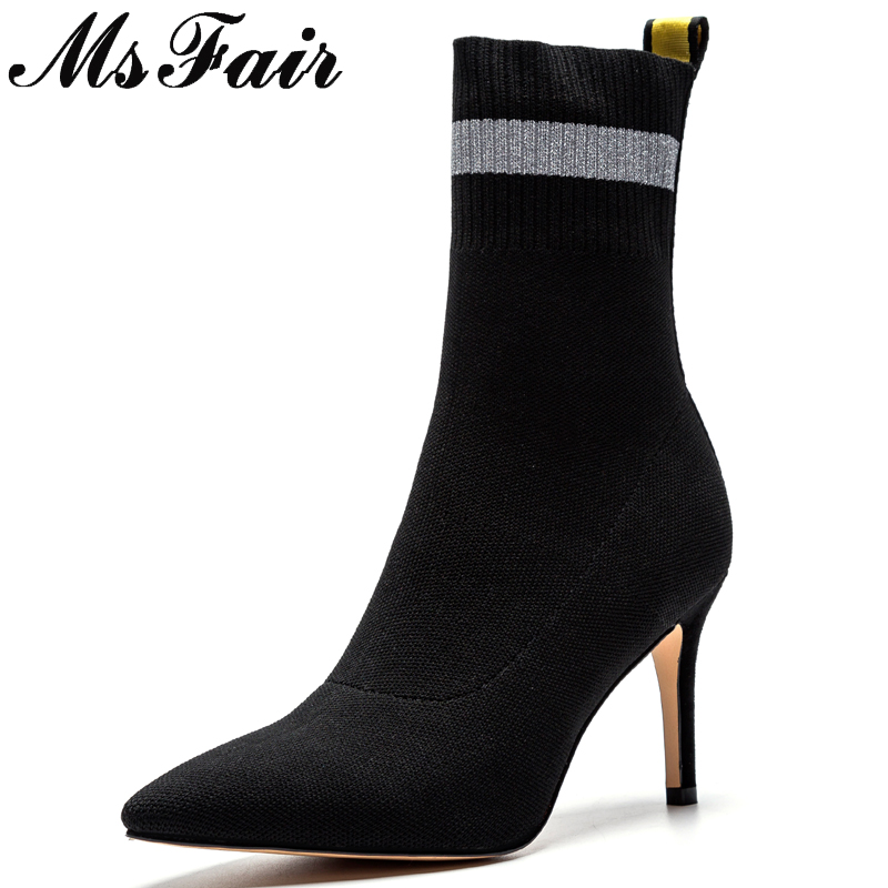 MSFAIR Pointed Toe High Heel Women Boots Fashion Mixed Colors Thin Heels Mid-Calf Boots Women Shoes Slip-On Boots Shoes Woman smonsdle black stretch knitting slip on women mid calf boots sexy pointed toe thin heel women spring autumn boots shoes woman