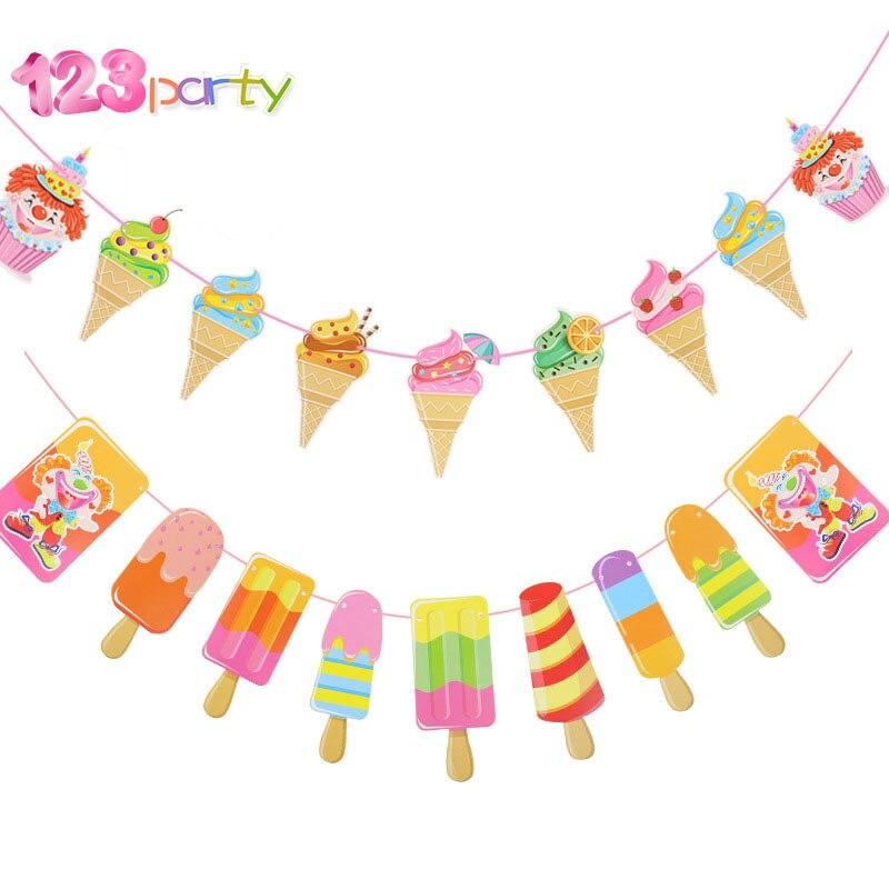 1 conjunto de sorvete vara gelo palhaço festa de verão bandeira do chuveiro do bebê criança aniversário decoração para casa hawaiian party suprimentos bandeira