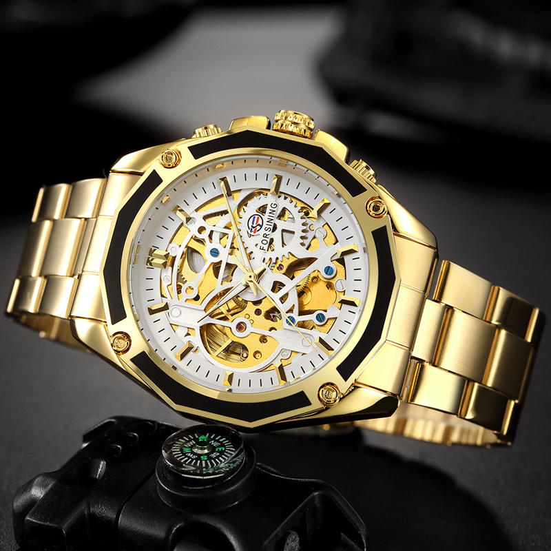 FORSINING Men Sport Mechanical Watch Mens Stainless Steel Gold Watches Man Self Winding Skeleton Wristwatch Relogio Masculino цена и фото