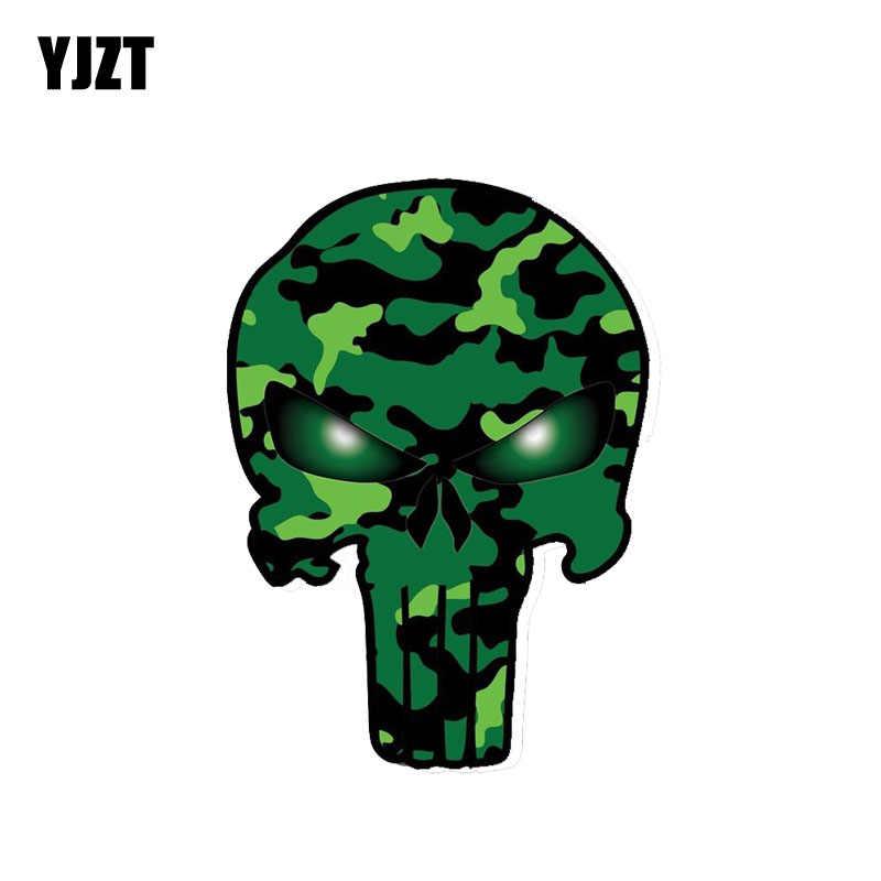 YJZT 11 CM * 15 CM Punisher Thân Xe Nhãn Dán Decal PVC Phụ Kiện Ngụy Trang Xanh Sọ 6-0035