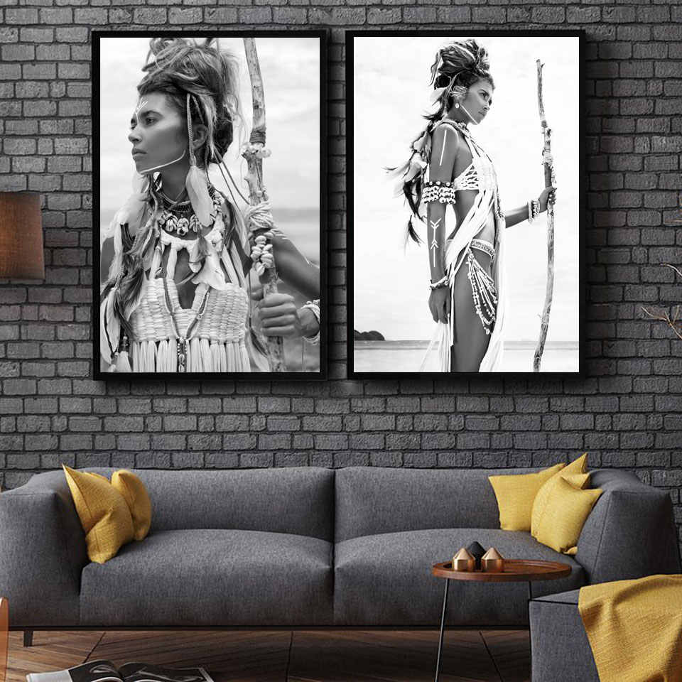 Indian Woman Nordic Poster Girl Wall Art Canvas Painting Posters And Prints Wall Pictures For Living Room Home Decor Unframed