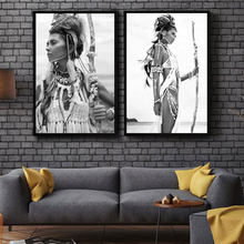 Indian Woman Nordic Poster Girl Wall Art Canvas Painting Posters And Prints Wall Pictures For Living Room Home Decor Unframed(China)