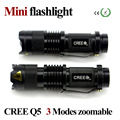 LED Torch Mini Flashlight  2000LM CREE Q5 Adjustable Focus Zoom flash Light Lamp free shipping wholesale