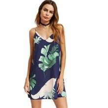 e596c079a99cd0 Navy Palm Leaf Print Double V-hals Cami Jurk Vrouwen Kleedje Spaghetti Mouwloze  Sexy Slip Jurk