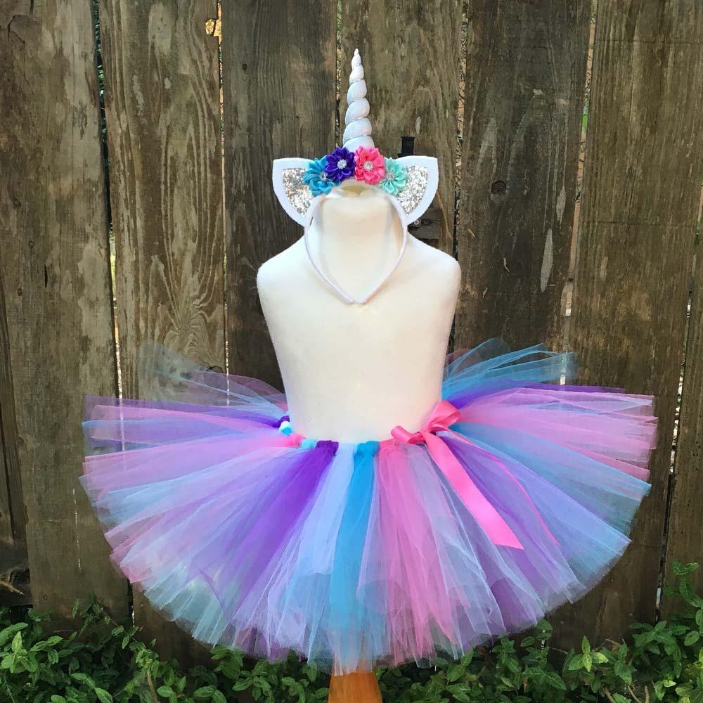 57cee2798 Niñas unicornio flor tutú faldas bebé Arco Iris tul falda Ballet Pettiskirt  con cinta Lazo y ...