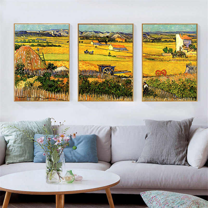Van Gogh Oil Painting Print On Canvas Autumn Harvest Landscape Painting Yellow Field Scenery Wall Art Picture for Living Room