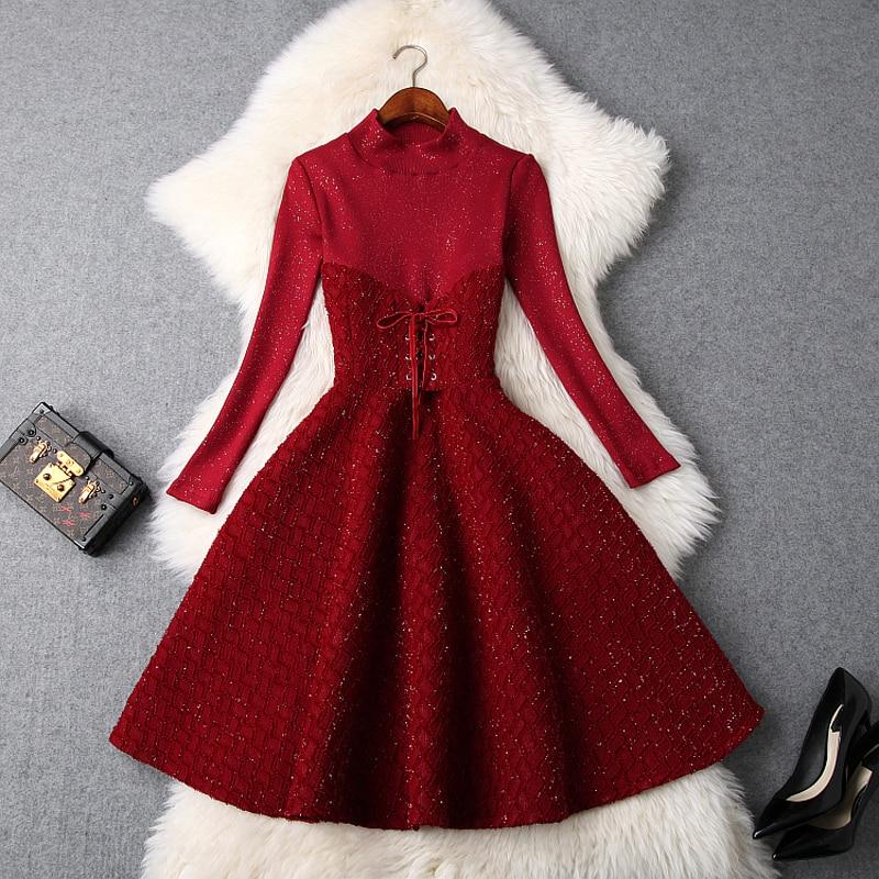 elegant dress A Line 2018 new Superior quality knitting Long sleeves dresses Spring Autumn women ladies