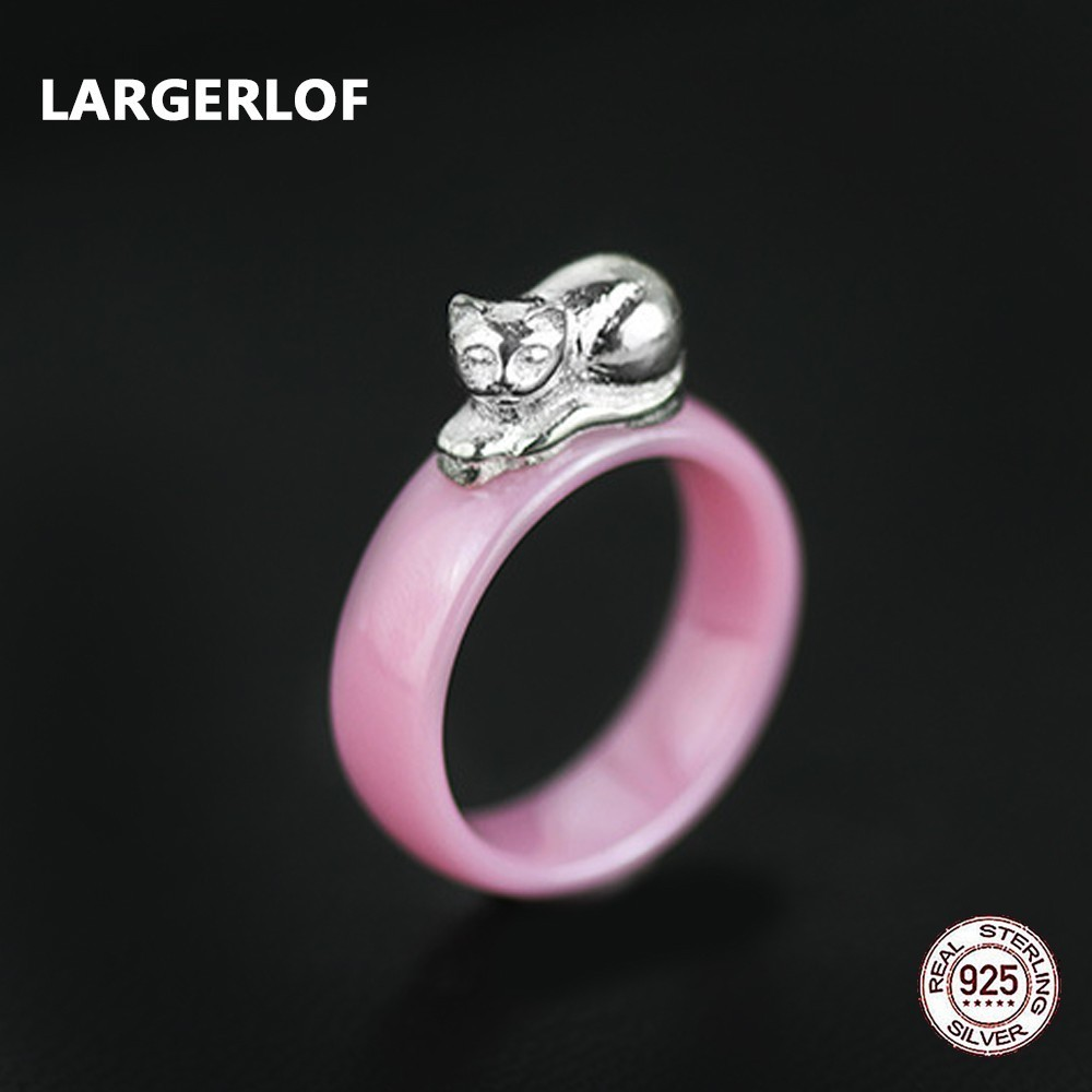 LARGERLOF Real Sterling Silver 925 Ring Ceramics Rings Handmade Fine Jewelry Silver 925 Jewelry Rings For Women RG57019 largerlof 925 silver ring women handmade fine jewelry silver 925 jewelry ring silver 925 jz12077