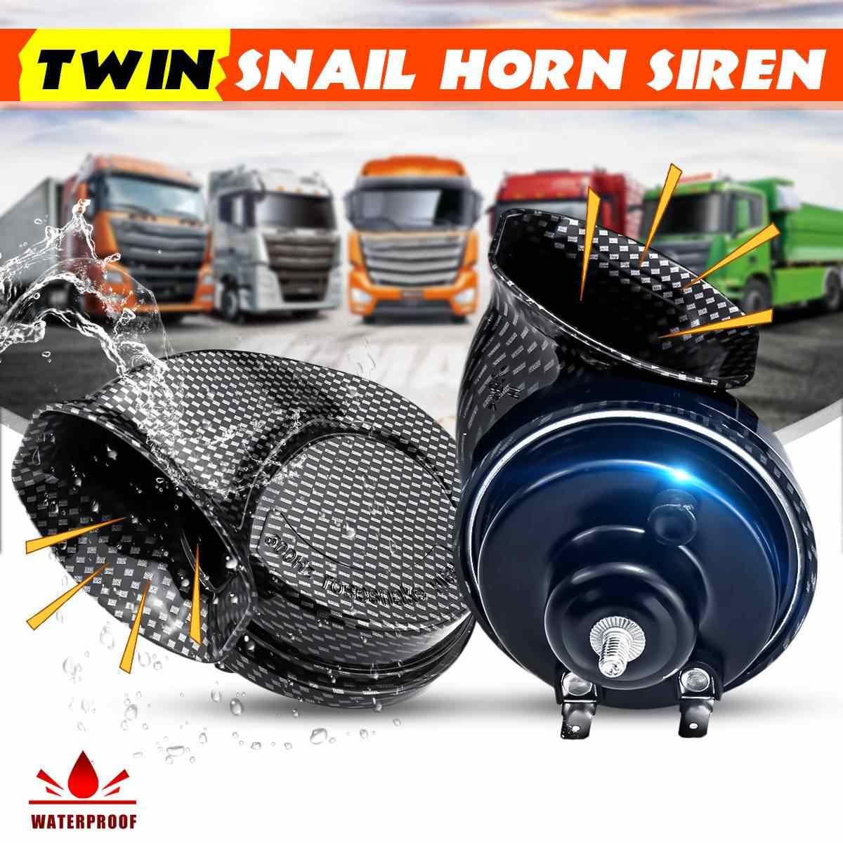 Partol Snail Horn Electric Snail Air Horn Siren Car Truck Horn 12V 110DB Loud Dual-Tone Universal for Cars Vehicle Truck Motorcycle Boat 1 Pair