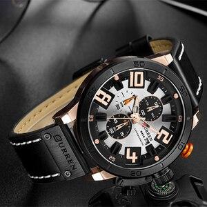 Image 5 - CURREN 8312 Fashion Casual Men Watch Top Brand Mens Leather Sports Quartz Wristwatches Waterproof Date Chronograph Male Clock