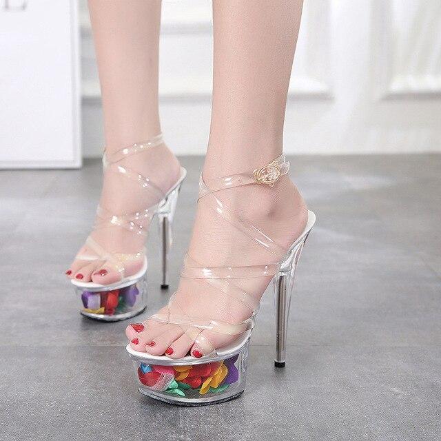 más cerca de zapatillas de skate verse bien zapatos venta Oferta Sexy Super tacones altos sandalias de mujer 15 CM plataforma  transparentes zapatos cristal boda Scarpe Donna
