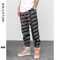 INFLATION Letter Printed Elastic Waist Track Pants Mens Fashion Joggers Sweatpants Streetwear Hip hop Trousers 8846W