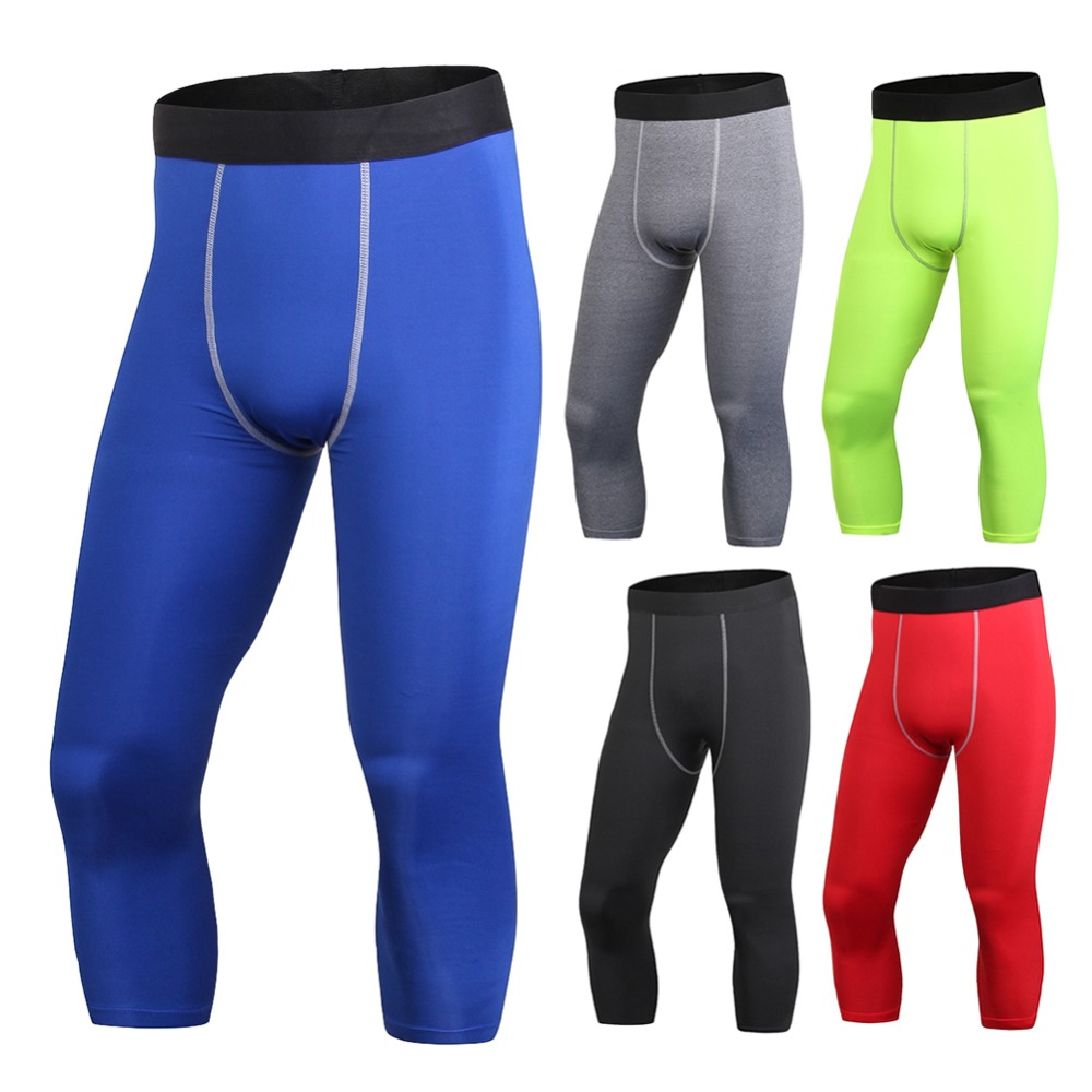 2018 Mens High Elastic Calf-Length Compression Pants Sports Joggers Fitness Clothing Tights Leggings Bottoms