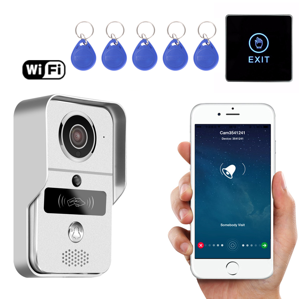 Smart Wireless WiFi Video 720P Door Phone Intercom Record Doorbell for Smartphone Remote View Unlock IOS Android 2016 new wifi doorbell video door phone support 3g 4g ios android for ipad smart phone tablet control wireless door intercom