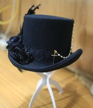 Japanese Harajuku Black Gothic Punk Lolita Cosplay Top Hat Woolen Fedora Hat Women/Wen Horseman Hat