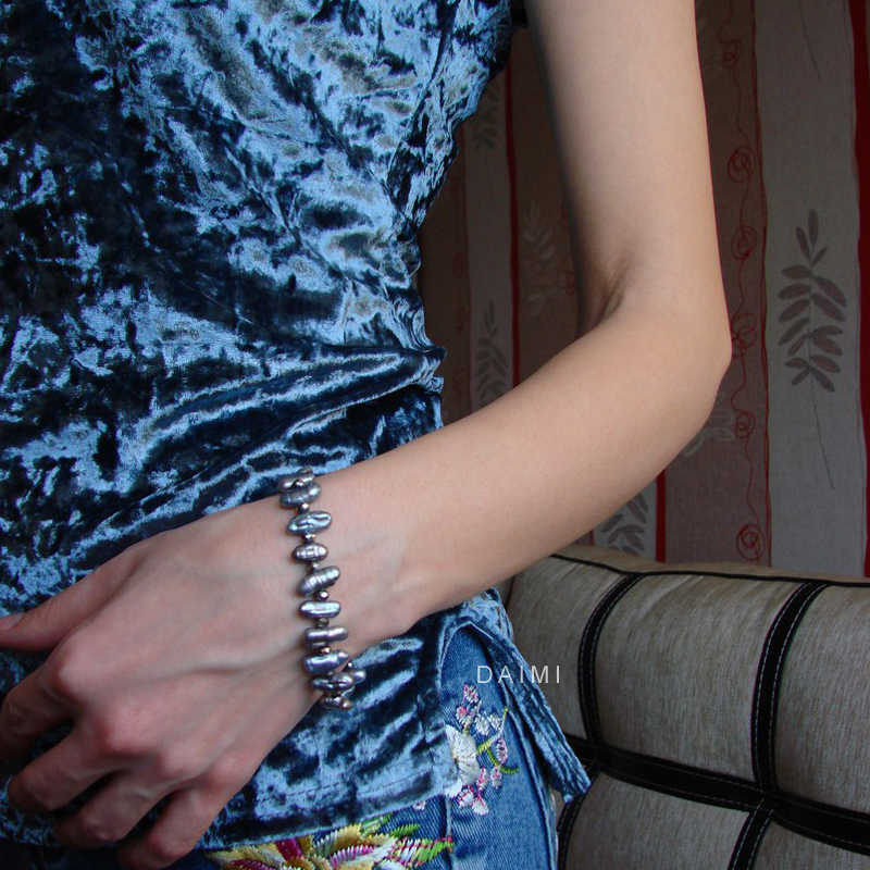 DMCBFP101 7-8mm הבארוק פרל צמיד טבעי מים מתוקים פרל צמיד לנשים