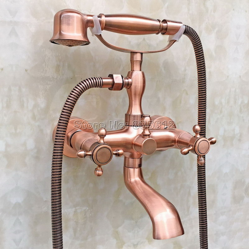 Antique Red Copper Handheld Shower Head Bath Tub Mixer Tap Wall Mounted Bathroom Dual Cross Handles Faucet Wtf803 gappo classic chrome bathroom shower faucet bath faucet mixer tap with hand shower head set wall mounted g3260