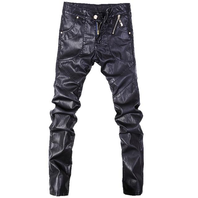 459107b844 De los hombres de la moda de los pantalones vaqueros ajustados de cuero  Pantalones rectos talla